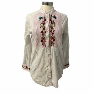 3J Workshop Floral Embroidered Tunic White Size S